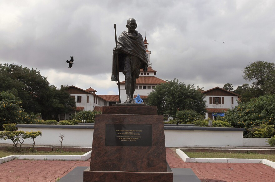 The statue of Indian independence leader Mohandas Gandhi in Accra, Ghana.