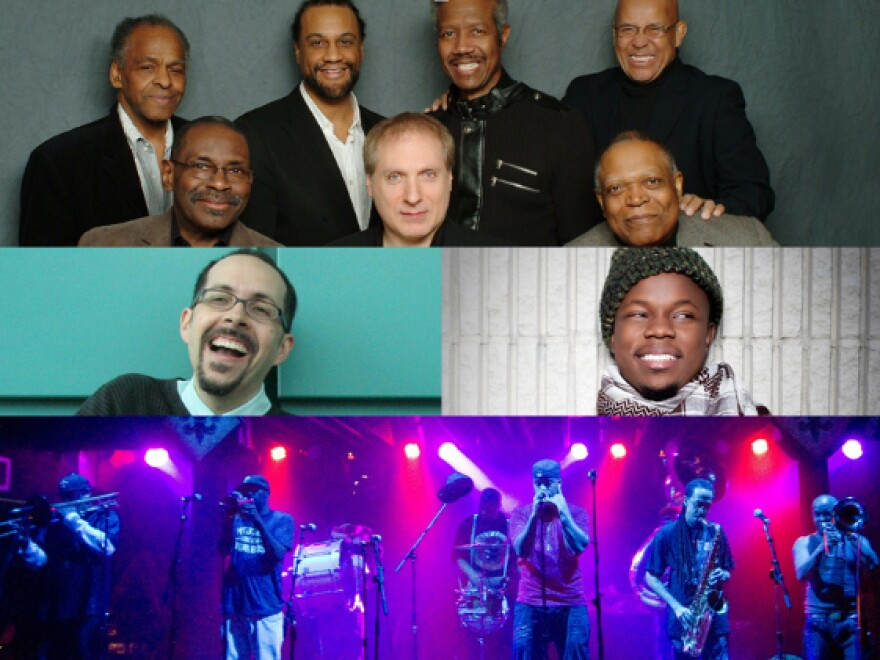Clockwise from top: The Cookers, Ambrose Akinmusire, Rebirth Brass Band, John Hollenbeck.