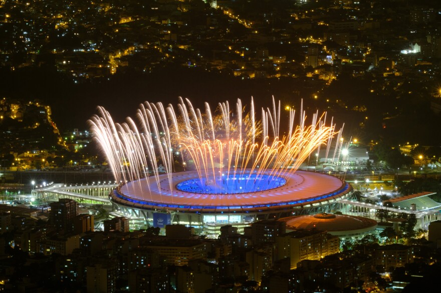 Fireworks light the sky during a rehearsal Wednesday for the opening ceremony of the 2016 Summer Olympics in Rio de Janeiro. Organizers hope the event, which will be held Friday night in Maracana Stadium, will lift the country's spirits after months of problems leading up to the games.