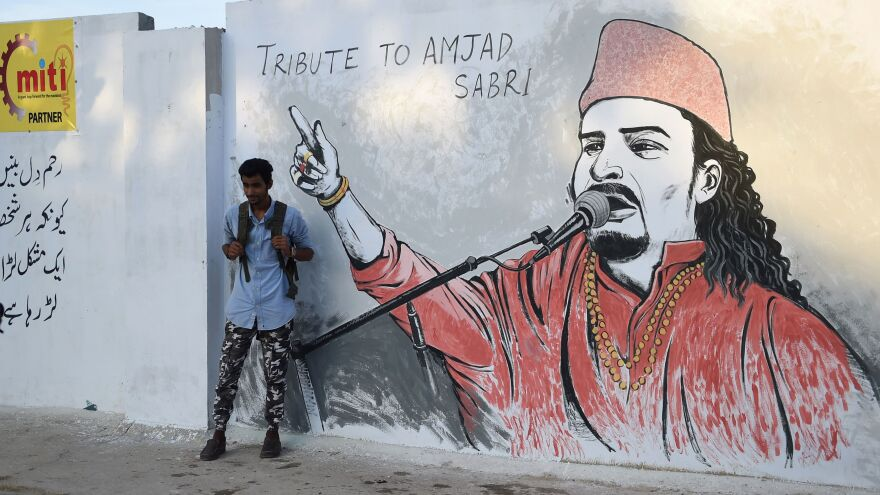 An image of Sufi musician Amjad Sabri in Karachi.