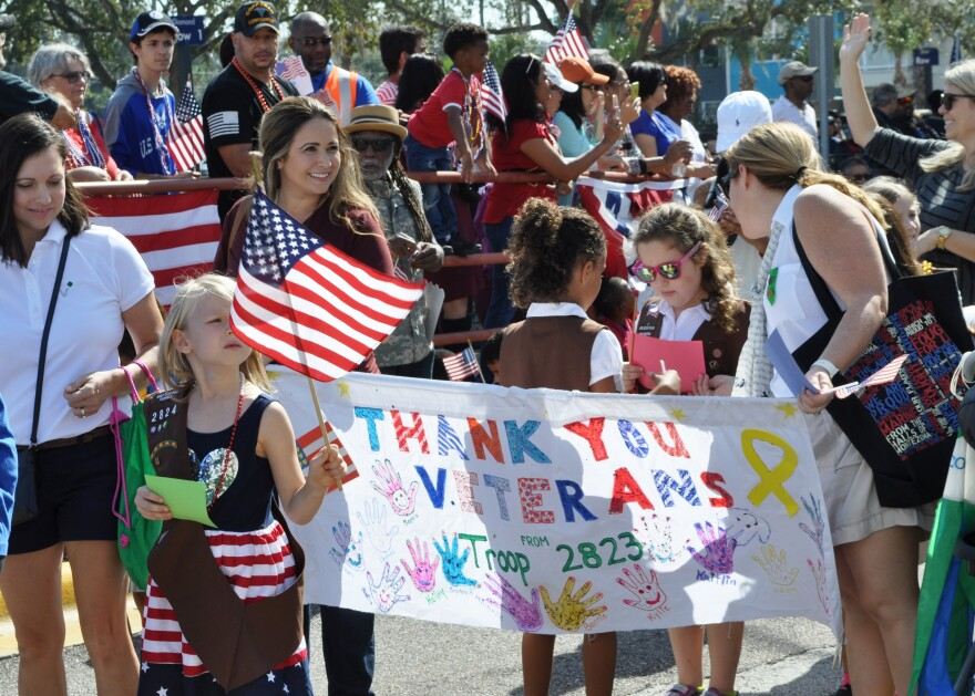 A scene from the 2016 parade for veterans at the James A. Haley Veterans Administration Hospital.