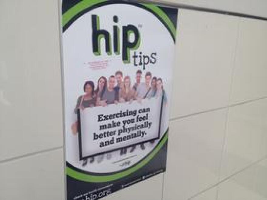 Posters around the school advertise the program and offer health tips for students who missed the classes or transferred to the school after their freshman year.
