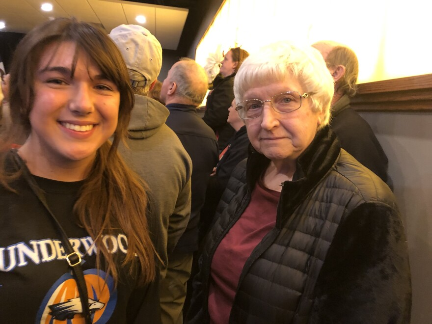 Marilynn Leggio (right) and her granddaughter Maggie Bashore attend an Elizabeth Warren event in Council Bluffs, Iowa.