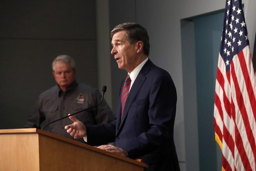 Gov. Roy Cooper speaks about the coronavirus at a press briefing on May 26, 2020.