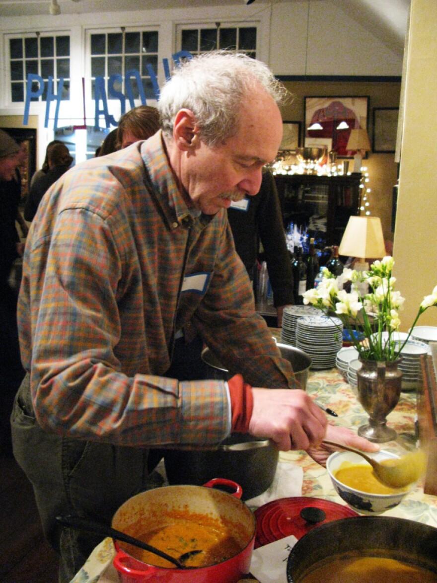 Jon Landau serves others at PhilaSoup, a soup group based in Philadelphia.