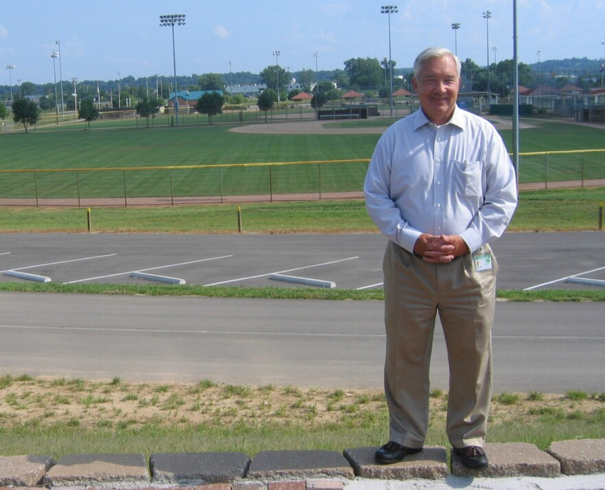 Chesterfield Mayor Bob Nation stands on the levee.
