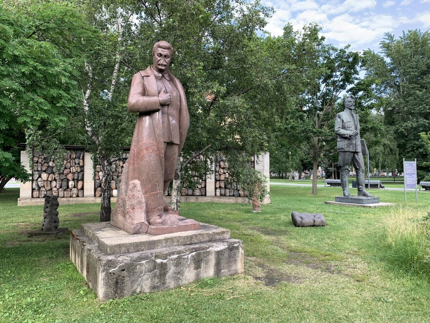 This statue of Soviet leader Josef Stalin is missing its nose.