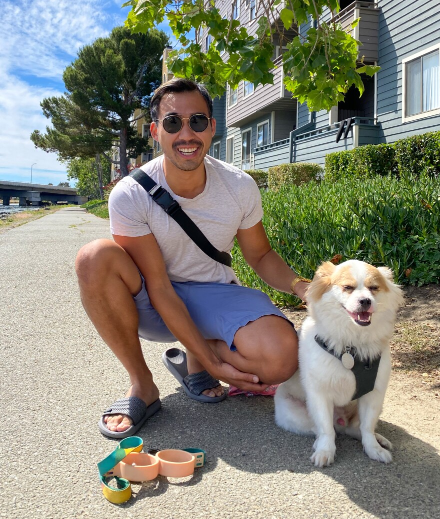 Justinian Huang with his dog Swagger in California.