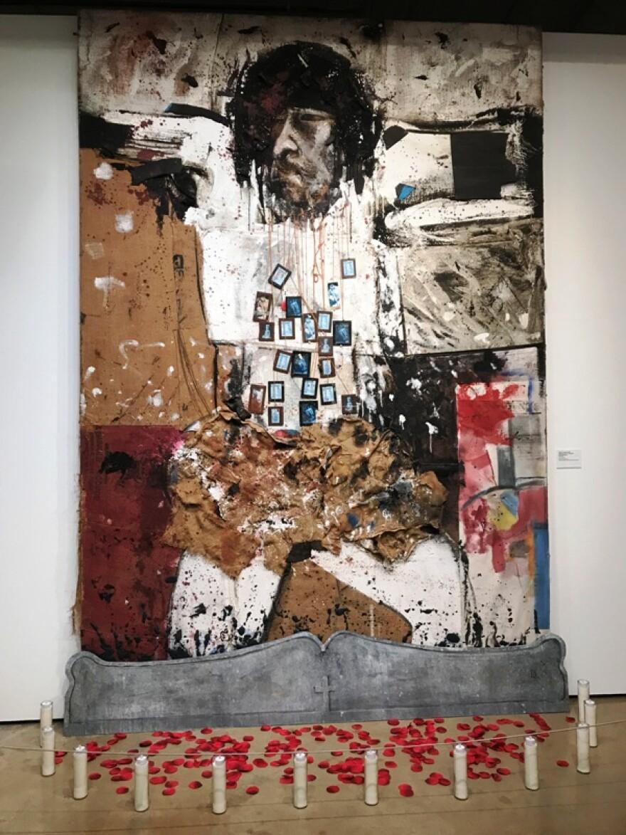 """Christ Crossing the River,"" 1985-2001, mixed media by artist Alberto Mijangos."