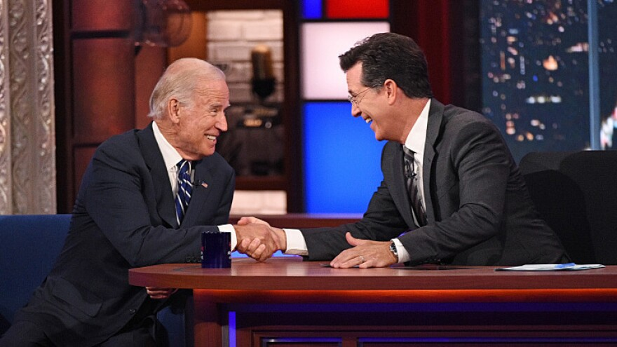 Vice President Joe Biden and Stephen Colbert.
