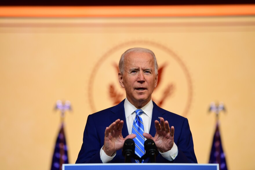 President-elect Joe Biden delivers a Thanksgiving address Wednesday in Wilmington, Del.