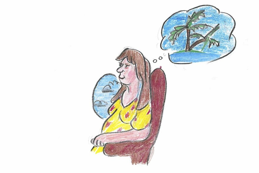 The pregnant woman takes a nonstop flight from Germany to the Maldive Islands.