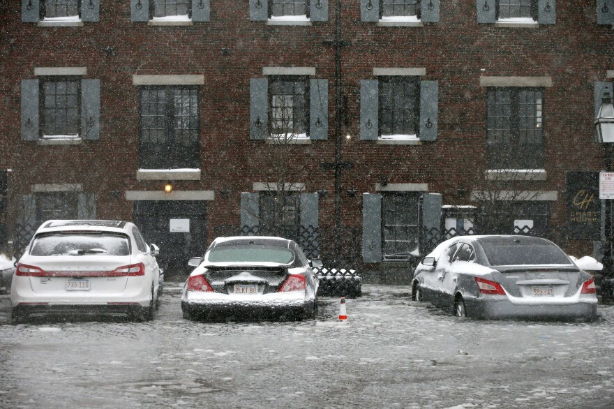 A 2018 storm caused widespread flooding in Boston, including in the Long Wharf area. Boston is one of many U.S. cities where underground apartments are common, and weather-driven flooding is an increasing threat to them.