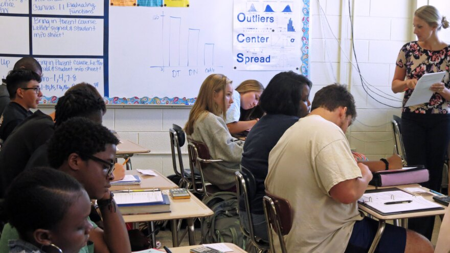 An AP Statistics class at East Mecklenburg High School.