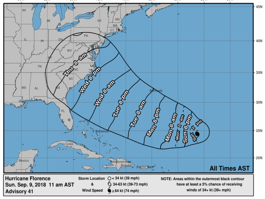 Florence, expected to approach arrive at the U.S. East Coast late this week, has just been named a Hurricane.