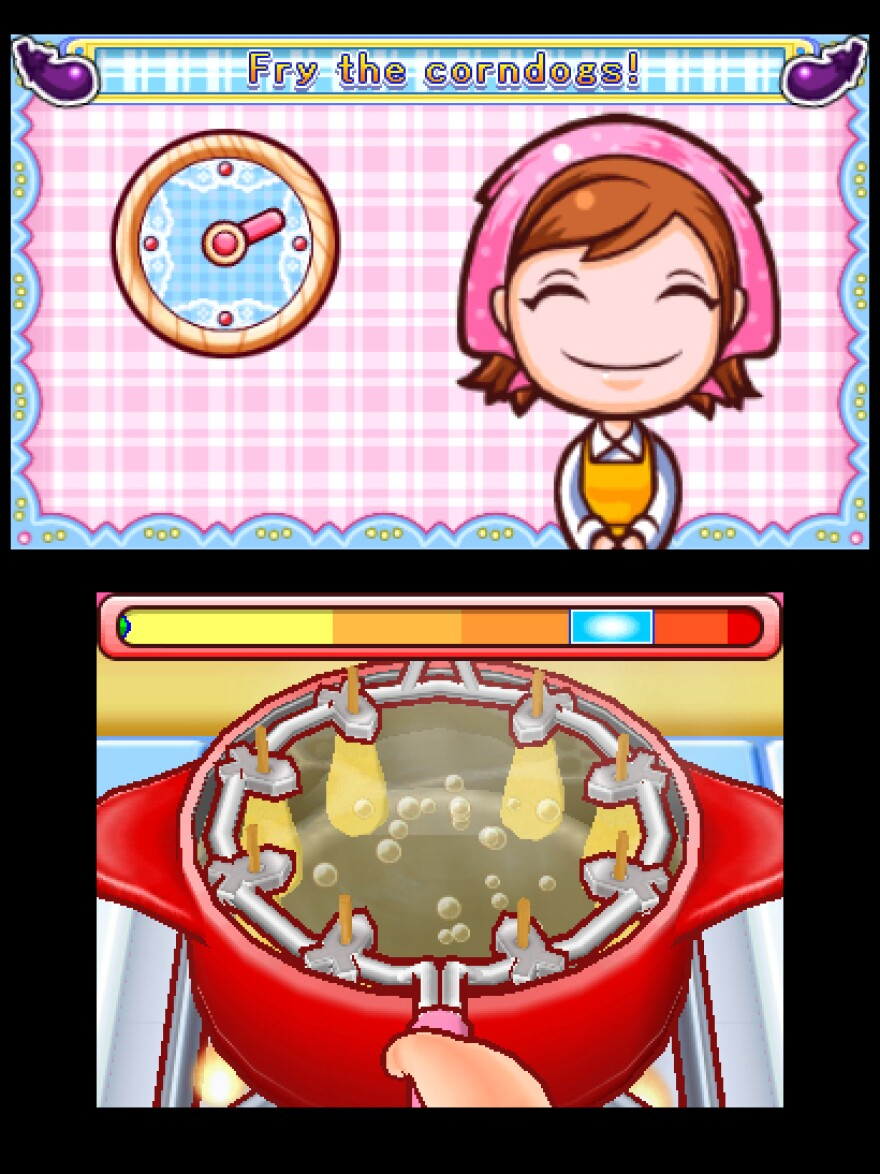 "Fry up some corn dogs in the game ""Cooking Mama."""