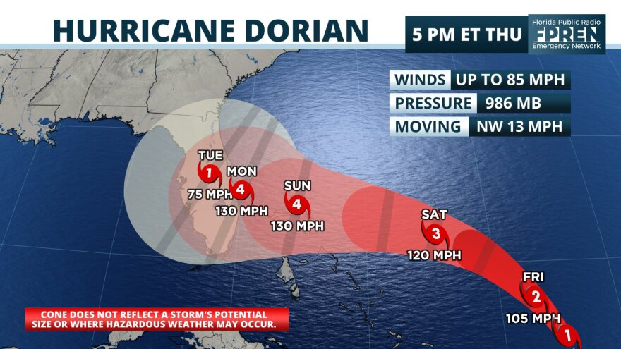 Hurricane Dorian continues to strengthen on a path toward Florida's east coast. FLORIDA PUBLIC RADIO EMERGENCY NETWORK