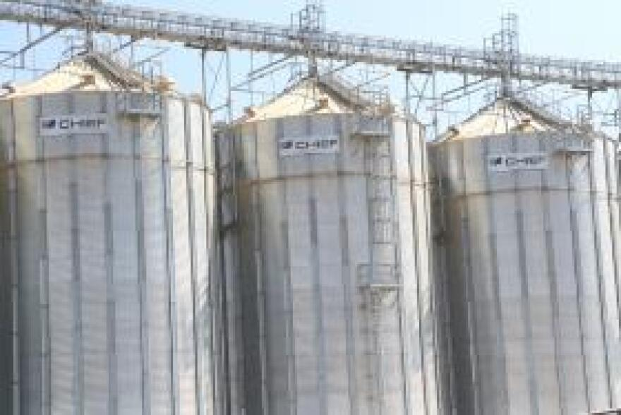 Finished Highland pellets are stored in silos.