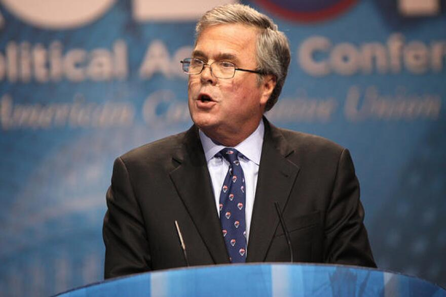 Former Governor Jeb Bush of Florida speaking at the 2013 Conservative Political Action Conference (CPAC) in National Harbor, Maryland.