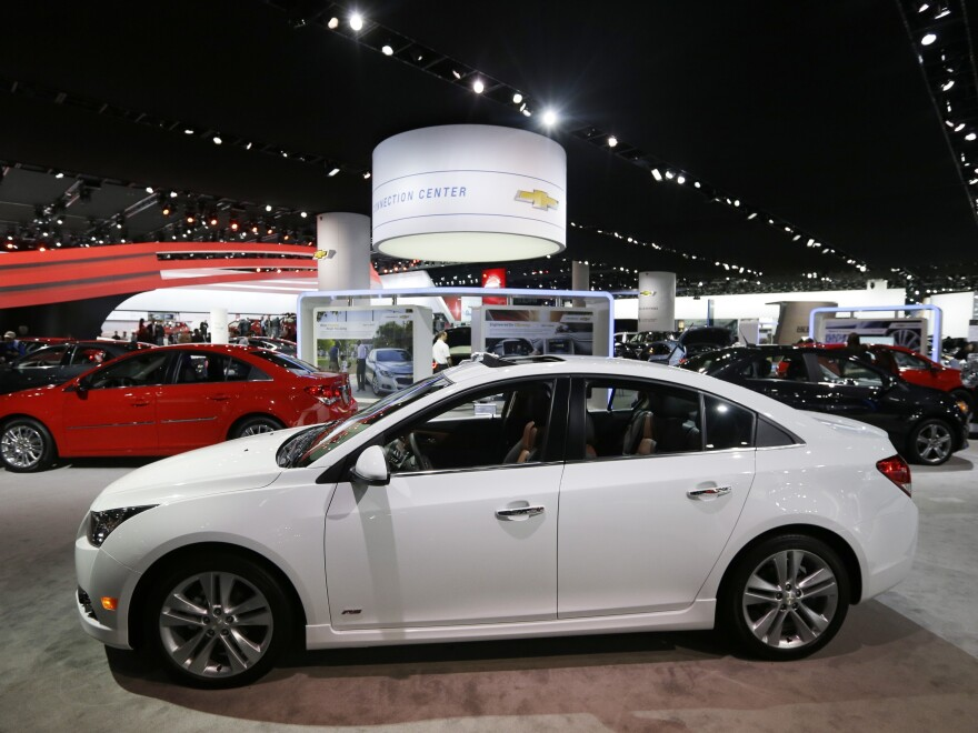A Chevrolet Cruze is displayed at the North American International Auto Show in Detroit, in January.