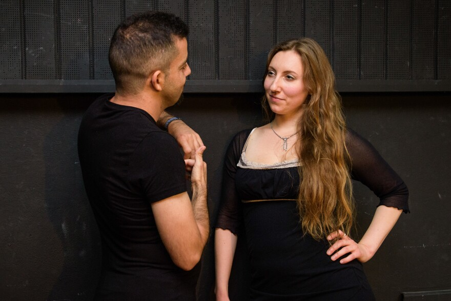 """When she's not leading a workshop, Lierenfeld works as a """"flirt coach"""" — helping clients become more confident in flirting with women.<strong> </strong>She and Abulhusn (left) had a recent session.<strong> </strong>"""
