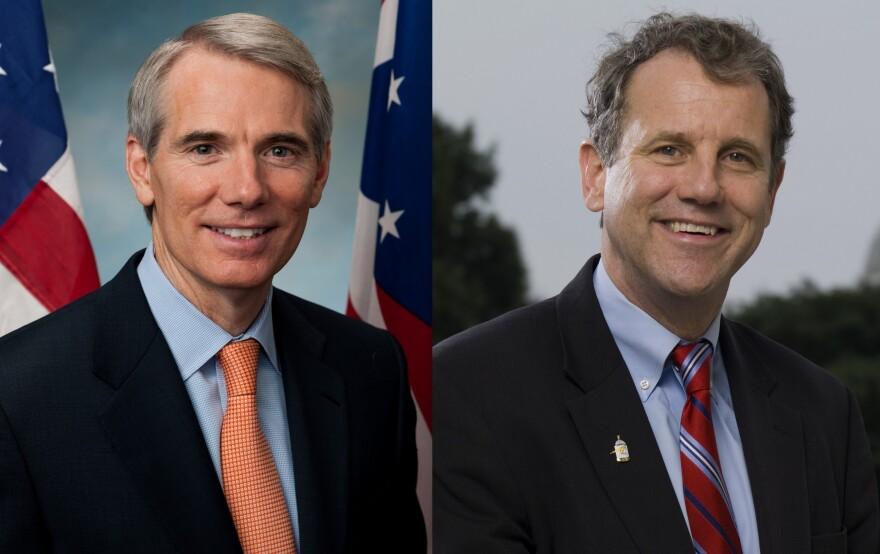 A composite photo of L-R U.S. Sens. Rob Portman (Republican) and Sherrod Brown (Democrat).