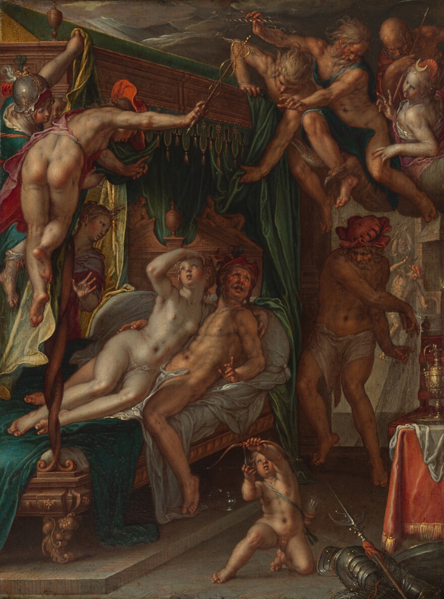 In 1610, Wtewael paints<em> </em>Venus looking up at Mercury as Apollo and Minerva raise the curtain of the bed. Vulcan, with his net, stands to the side of the bed, with Apollo, Jupiter, Saturn and Diana above.