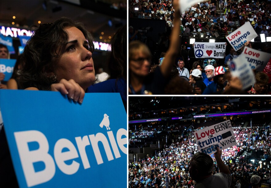 Sanders supporters voice their opinions during Monday evening's program at the Democratic National Convention.