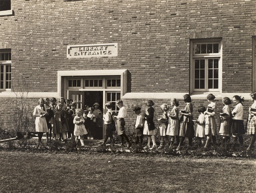 The St. Louis Public Library's Buder branch, pictured in 1923, originally opened in the Susan R. Buder School. 1923