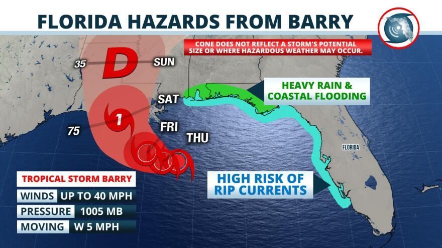 Tropical Storm Barry is producing gusty winds and dangerous rip currents along Florida's West Coast.
