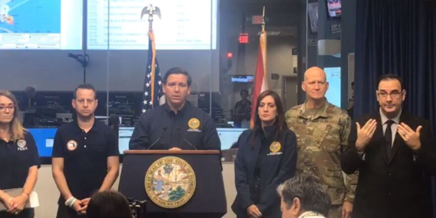 Florida Gov. Ron DeSantis speaks Monday morning at a press conference about Hurricane Dorian at the State Emergency Operations Center in Tallahassee.