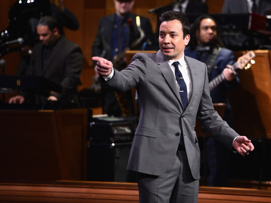 Jimmy Fallon during his debut Monday as host of NBC's <em>The Tonight Show.</em>