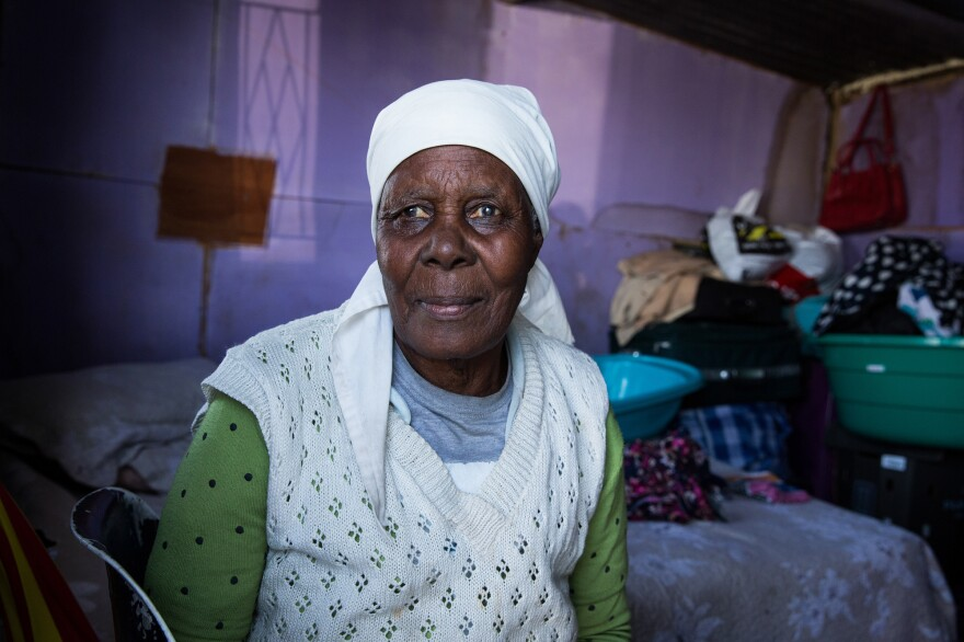 Orripah Dlali, age 86, is one of the oldest residents of Covid. She lives with her grandson, who lost his construction job due to the lockdown. They moved together to Covid when they couldn't afford the rent on their previous residence.