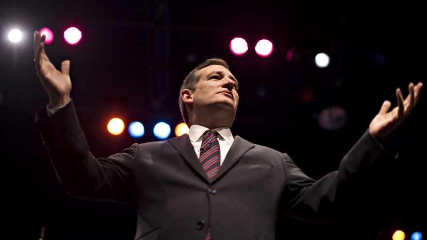 Texas Sen. Ted Cruz speaks during the 2015 Iowa Faith & Freedom Coalition presidential forum. He's made religion a central tenet of his campaign for the Republican presidential nomination.