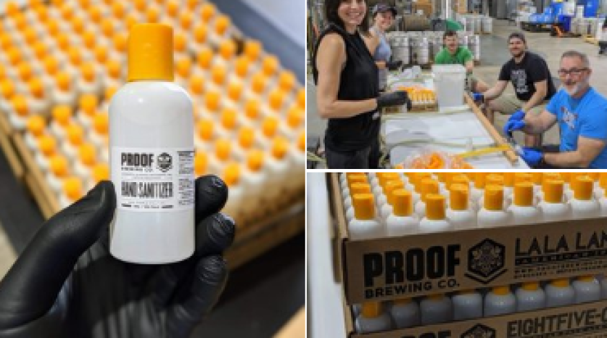 Scenes of Proof Brewing Company's hand sanitizer operation.