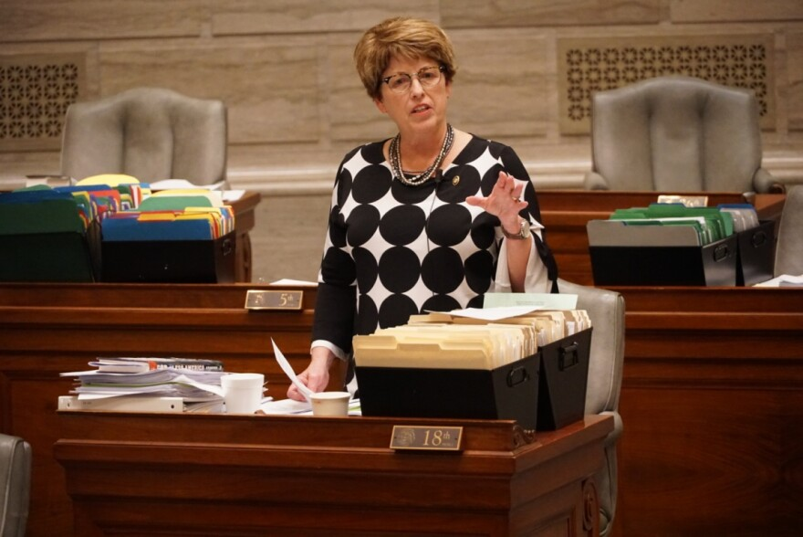 State Sen. Cindy O'Laughlin, R-Shelbina, helps delay action in the Senate on May 13, 2019 as part of a dispute over incentives for General Motors.