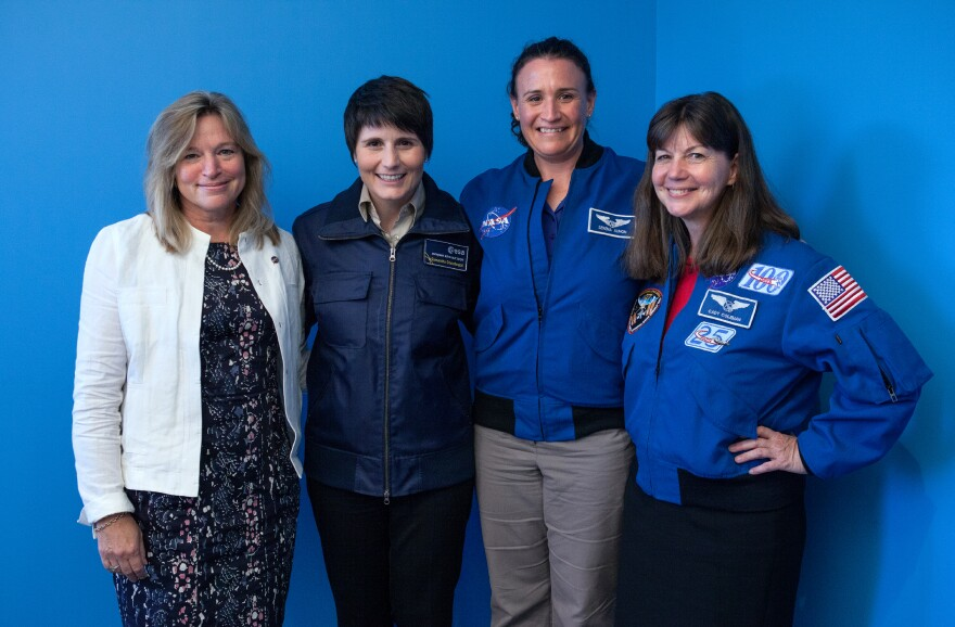 Ellen Stofan (from left), chief scientist of NASA, and astronauts Samantha Cristoforetti, Serena Auñón and Cady Coleman.