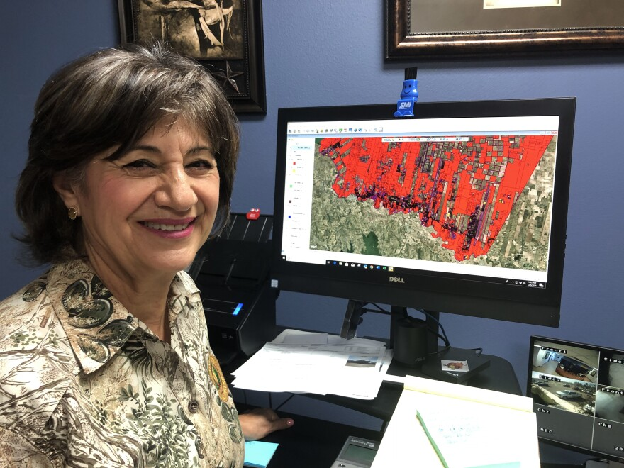 The computer screen of Starr County Chief Appraiser Rosalva Guerra is awash with red. These are properties where the county is unsure of the owner<em>. </em>