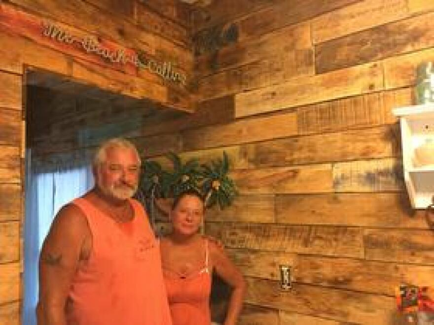 Fred and Melissa Bach had to put off any plans for retirement after Hurricane Irma. But their home is rebuilt, inside and out, with palette lumber one of their sons drove down from Michigan.