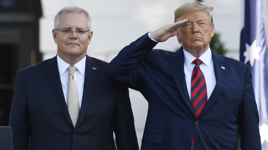 """President Trump and Australian Prime Minister Scott Morrison. Trump says reports of an improper conversation with a foreign leader are """"ridiculous."""""""