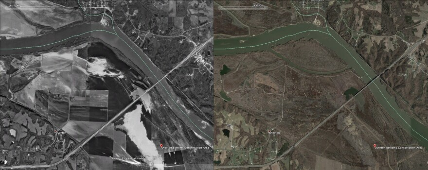 The Overton (Missouri) Bottoms Conservation Area, shown at left as farmland in 1995 and at right as restored wetland in 2015.