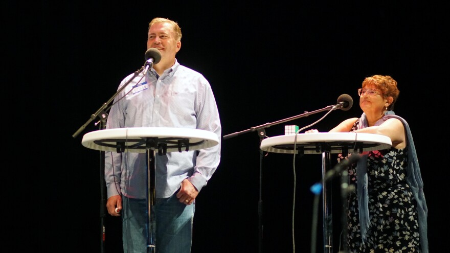 Contestants Nathan Kroll and Gloria Alvarez appear on <em>Ask Me Another </em>at Cullen Performance Hall at the University of Houston, in Houston, Texas.