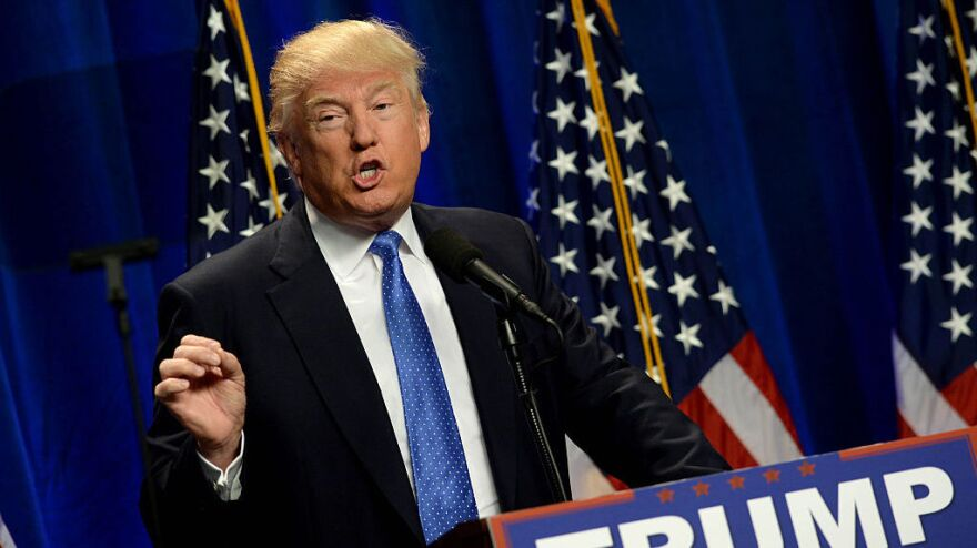 Republican presidential candidate Donald Trump speaks about the Orlando shooting at an event in New Hampshire on Monday.