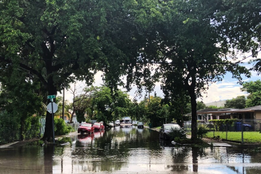 High tides in August flooded streets in the Buena Vista neighborhood in Miami.