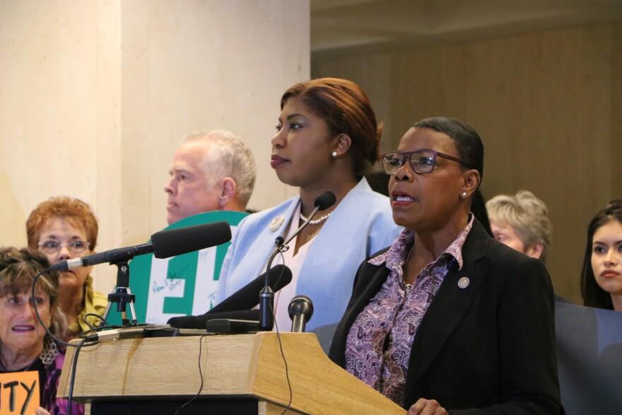Rep. Kamia Brown, left, and Senator Audrey Gibson debut their new bill aiming to create a Maternal Mortality Prevention Task Force in Florida.