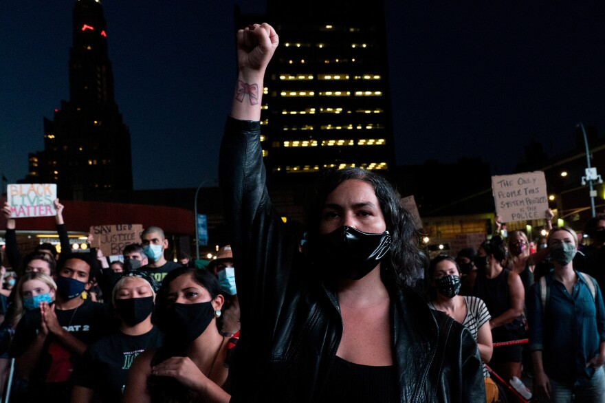 Protesters in Brooklyn, N.Y., rallied against the grand jury decision.