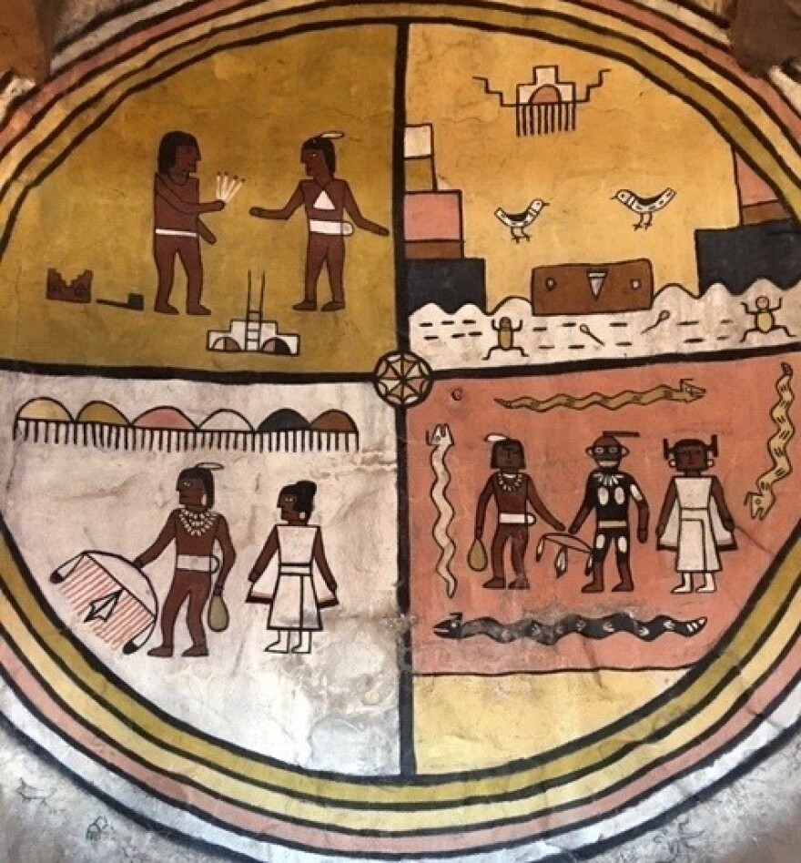 In 1933 architect Mary Colter commissioned Hopi artist Fred Kabotie to paint murals like this one inside Desert View Watchtower. Volunteers are now working to restore them.