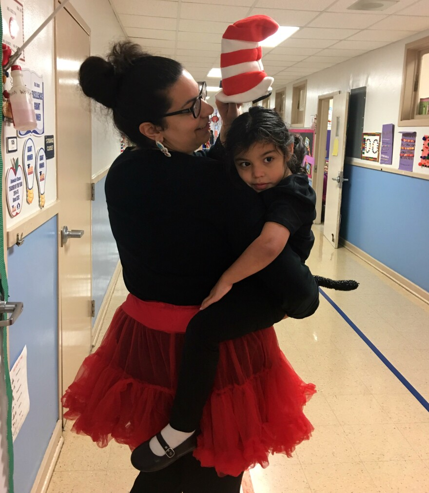 Special education teacher Rebekah Ozuna and Naomi dress up like Cat and the Hat for Dr. Seuss Day in March 2017.