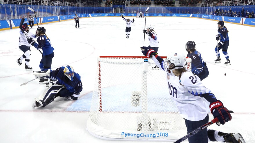 Kendall Coyne, No. 26 of the U.S., celebrates with teammate Hilary Knight, No. 21, after scoring a goal in the second period against Finland during the women's hockey tournament in Pyeongchang.