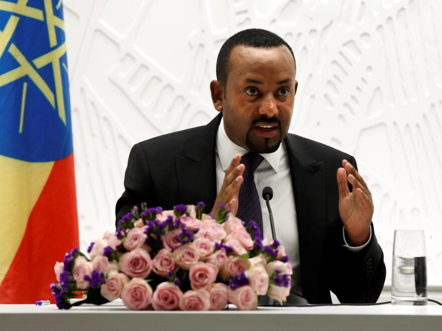Prime Minister Abiy Ahmed, shown at a news conference on general elections in Addis Ababa, Ethiopia, in August, has won the Nobel Peace Prize for his work toward a peace initiative with neighboring Eritrea.